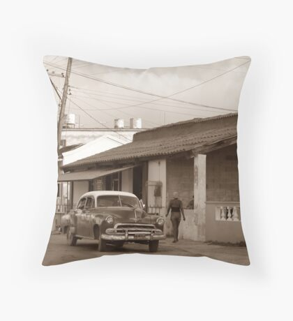 Streetside, Cojimar, Cuba Throw Pillow