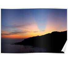 Crepuscular rays over Isola d' Elba  Poster