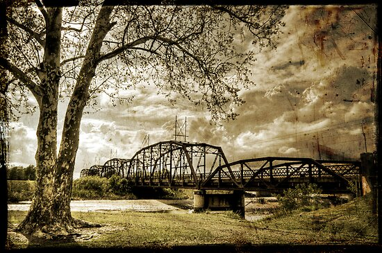Lake Overhosler Truss Bridge Distressed by Jim Felder