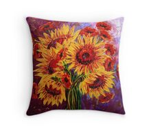 Sunflowers & Poppies Throw Pillow