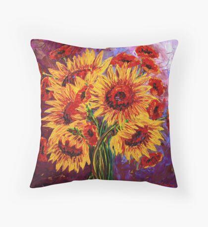 Sunflowers & Poppies Throw Pillow