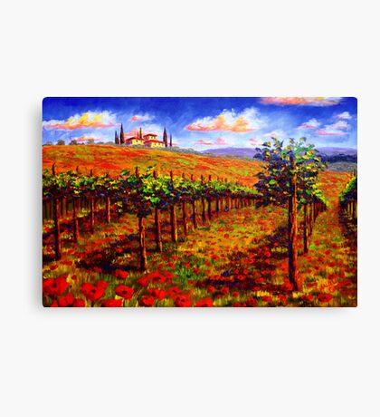 Tuscany Vineyard & Poppies Canvas Print