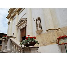 Statue Waving from a Church in Lazise, Italia Photographic Print