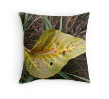 Leaf in Green & Gold Throw Pillow