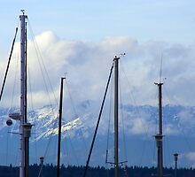 Mountains Behind The Masts by starlitewonder
