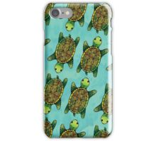 Green Watercolour Ink Drawn Turtle Pattern iPhone Case/Skin
