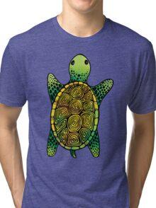 Green Watercolour Ink Drawn Turtle Pattern Tri-blend T-Shirt