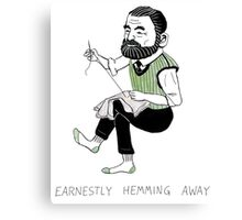 """""""Earnestly Hemming Away"""" Canvas Print"""