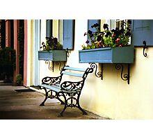 Rainbow Row Bench Photographic Print