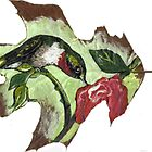 Art print of Hummingbird Leaf Painting by dorcas13