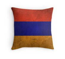 Old and Worn Distressed Vintage Flag of Armenia Throw Pillow