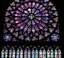 Notre Dame Cathedral Rose Window, Paris, France by Rob  Holcomb