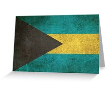 Old and Worn Distressed Vintage Flag of Bahamas Greeting Card