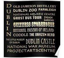 Dublin Ireland Famous Landmarks Poster