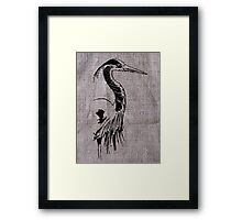 Heron on Burlap Framed Print