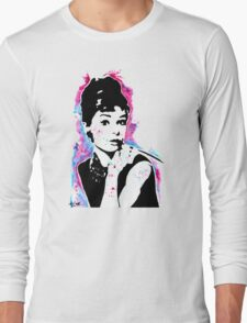 Audrey Hepburn - Street art - Watercolor - Popart style - Andy Warhol Jonny2may Long Sleeve T-Shirt