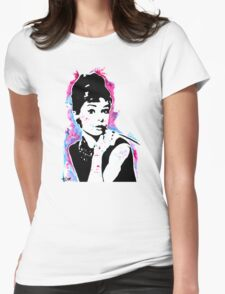 Audrey Hepburn - Street art - Watercolor - Popart style - Andy Warhol Jonny2may Womens Fitted T-Shirt