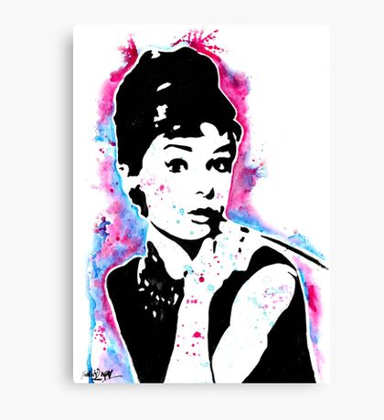 Audrey Hepburn - Street art - Watercolor - Popart style - Andy Warhol Jonny2may Canvas Print