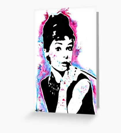 Audrey Hepburn - Street art - Watercolor - Popart style - Andy Warhol Jonny2may Greeting Card