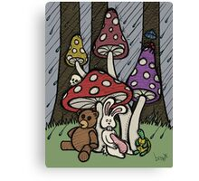 Teddy Bear And Bunny - Rainy Day Blues Canvas Print