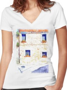 Laurana Cilento: house facade with windows Women's Fitted V-Neck T-Shirt