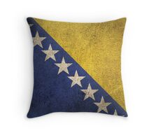 Old and Worn Distressed Vintage Flag of Bosnia - Herzegovina Throw Pillow