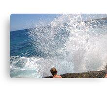 Large wave, little person.. Canvas Print