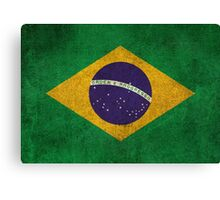 Old and Worn Distressed Vintage Flag of Brazil Canvas Print