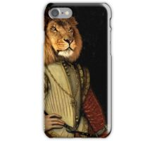 The Fancy Lion - A fun image of a Lion in Noble Attire iPhone Case/Skin