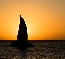 Silhouette of a boat at sunset by David Wheeldon