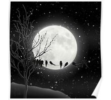 Moon Bath, birds on a wire, harvest moon Poster