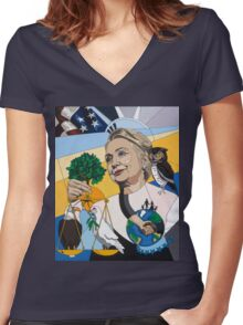 In Honor of Hillary Women's Fitted V-Neck T-Shirt