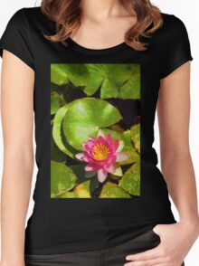 Pretty in Pink - a Waterlily Impression - Vertical Women's Fitted Scoop T-Shirt