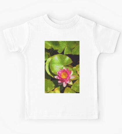Pretty in Pink - a Waterlily Impression - Vertical Kids Tee