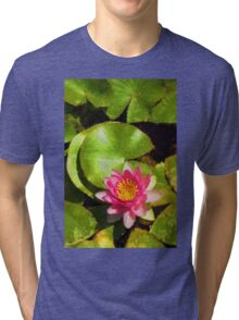 Pretty in Pink - a Waterlily Impression - Vertical Tri-blend T-Shirt