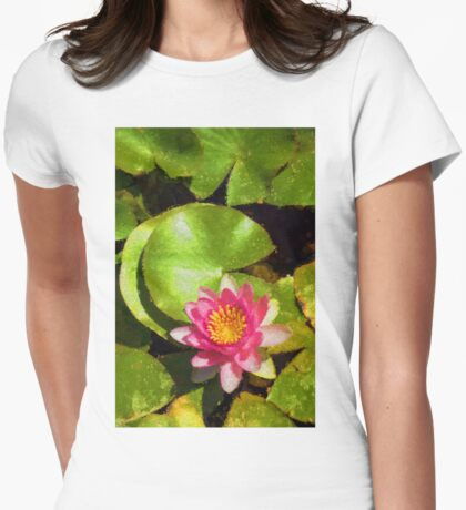 Pretty in Pink - a Waterlily Impression - Vertical Womens Fitted T-Shirt