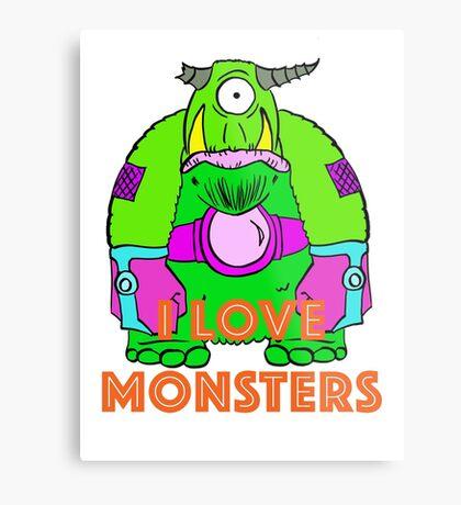 I Love Monsters Metal Print