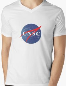 Textured NASA/UNSC Logo Mens V-Neck T-Shirt