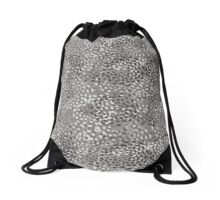 Gray And White Speckled Print Drawstring Bag