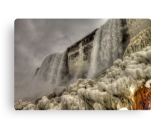 Falling Waters and Frigid Ice Canvas Print