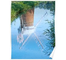 Reflection of Horsey Windpump in Water, Norfolk Poster