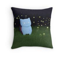 Catbug and fireflies Throw Pillow