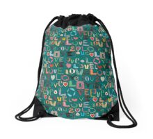 l o v e LOVE teal Drawstring Bag