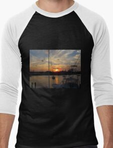 Sunset in Georgetown, SC Men's Baseball ¾ T-Shirt