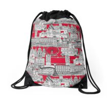 London toile red Drawstring Bag