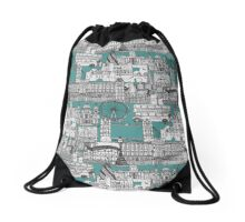 London toile blue Drawstring Bag