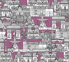 Paris toile raspberry by Sharon Turner