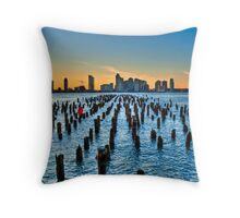 Pier Pilings on the Hudson River--HDR Throw Pillow