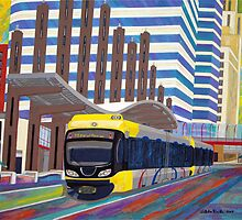 Light Rail in Downtown Minneapolis by Stella Pinilla