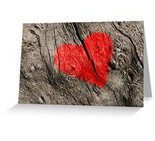 Red heart on the tree bark. Greeting Card